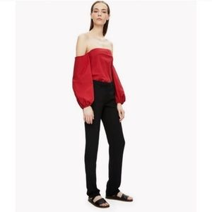 Theory Laureema Off The Shoulder Red Top✨